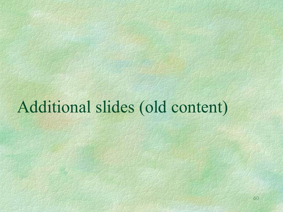 60 Additional slides (old content)