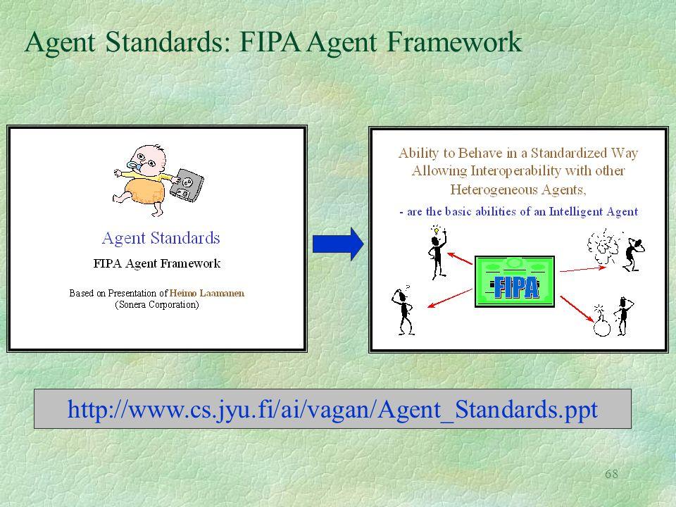 68 Agent Standards: FIPA Agent Framework http://www.cs.jyu.fi/ai/vagan/Agent_Standards.ppt