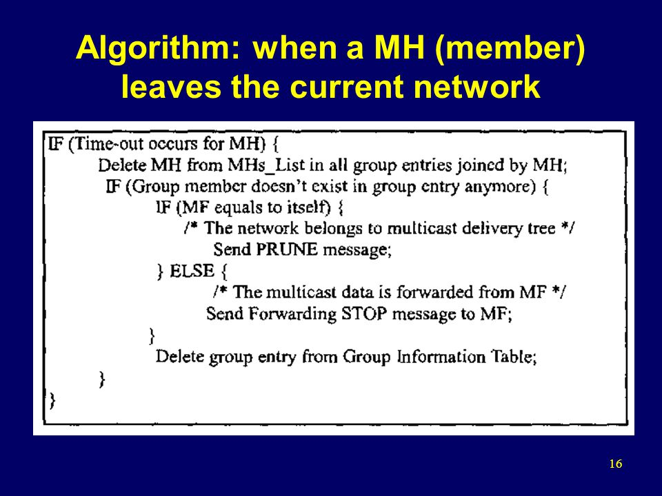 16 Algorithm: when a MH (member) leaves the current network