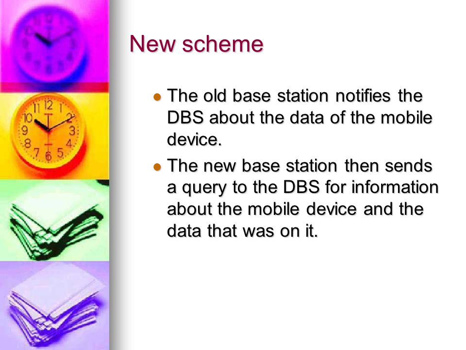 New scheme The old base station notifies the DBS about the data of the mobile device.