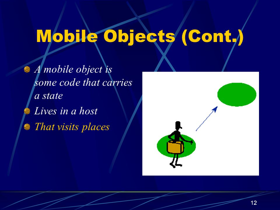 12 Mobile Objects (Cont.) A mobile object is some code that carries a state Lives in a host That visits places