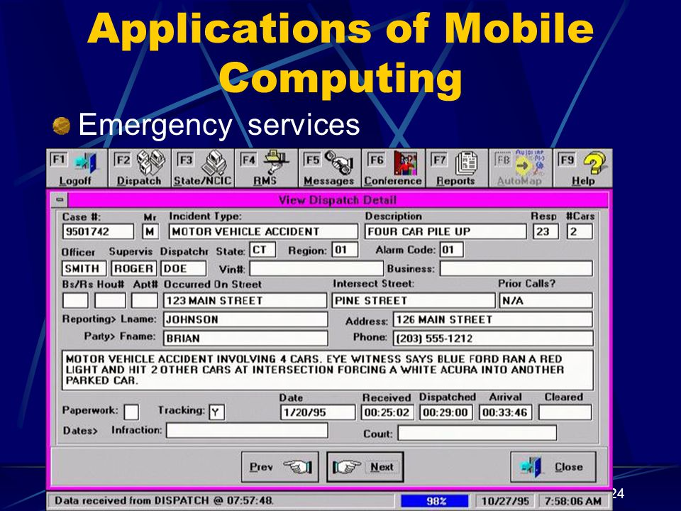 24 Applications of Mobile Computing Emergency services