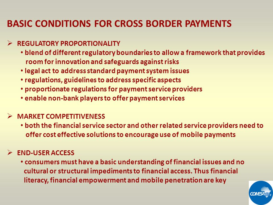 BASIC CONDITIONS FOR CROSS BORDER PAYMENTS REGULATORY PROPORTIONALITY blend of different regulatory boundaries to allow a framework that provides room for innovation and safeguards against risks legal act to address standard payment system issues regulations, guidelines to address specific aspects proportionate regulations for payment service providers enable non-bank players to offer payment services MARKET COMPETITIVENESS both the financial service sector and other related service providers need to offer cost effective solutions to encourage use of mobile payments END-USER ACCESS consumers must have a basic understanding of financial issues and no cultural or structural impediments to financial access.