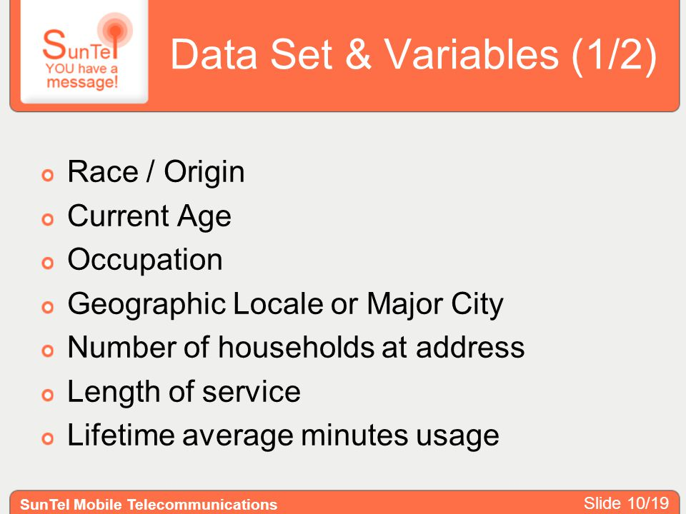 Data Set & Variables (1/2) Race / Origin Current Age Occupation Geographic Locale or Major City Number of households at address Length of service Life