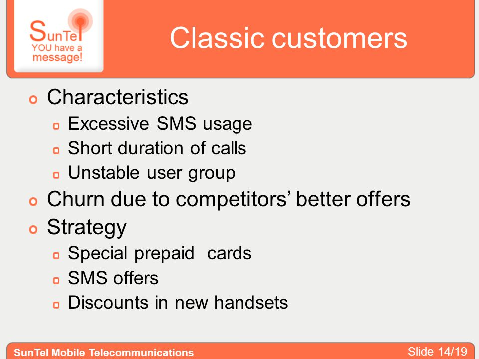 Classic customers Characteristics Excessive SMS usage Short duration of calls Unstable user group Churn due to competitors better offers Strategy Spec