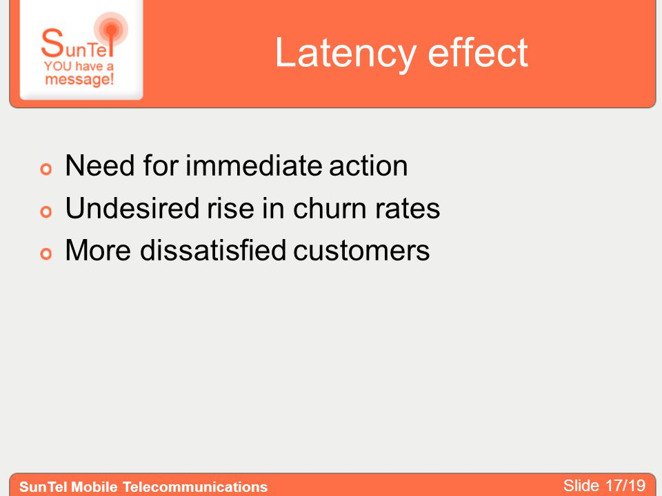 Latency effect Need for immediate action Undesired rise in churn rates More dissatisfied customers SunTel Mobile Telecommunications Slide 17/19