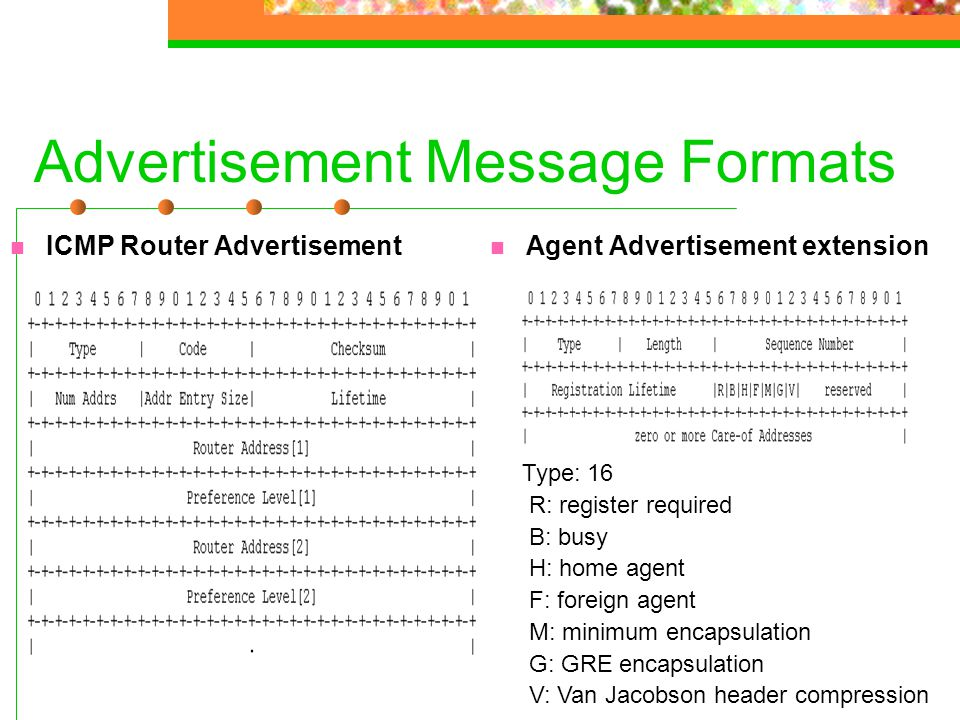 Advertisement Message Formats ICMP Router Advertisement Agent Advertisement extension Type: 16 R: register required B: busy H: home agent F: foreign a