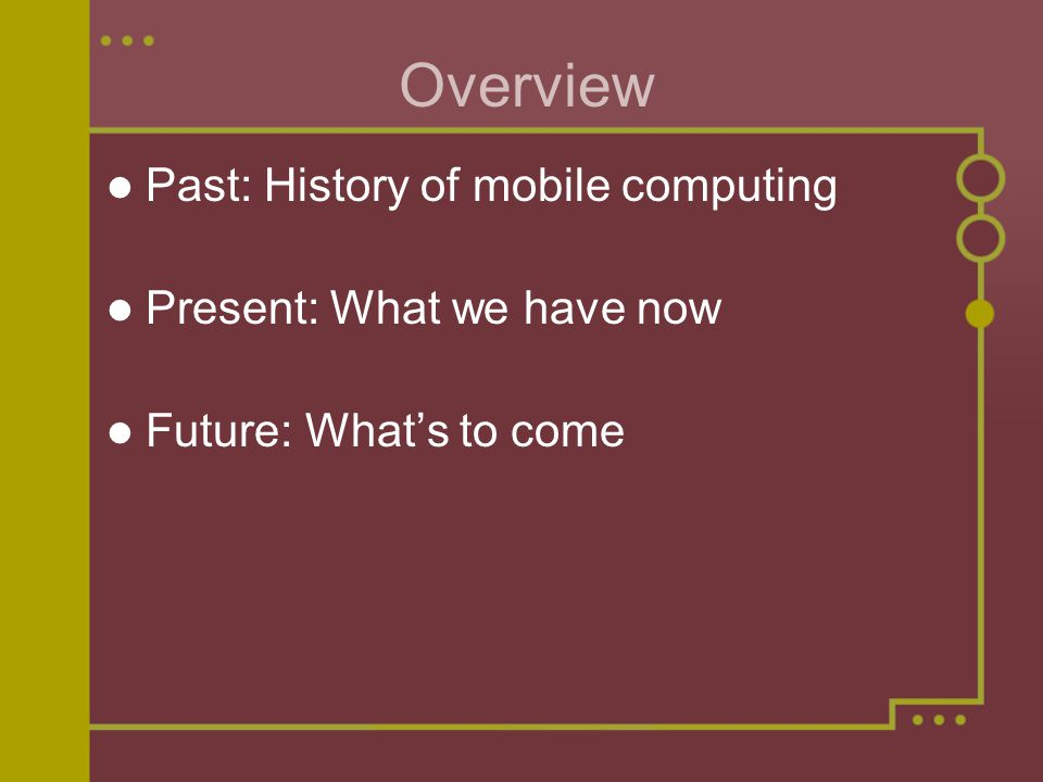 Mobile Computing A new era of mobility