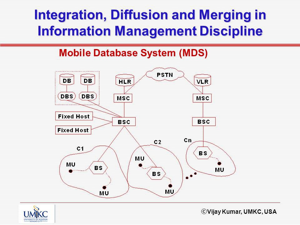 Vijay Kumar, UMKC, USA Integration, Diffusion and Merging in Information Management Discipline Mobile Database System (MDS)