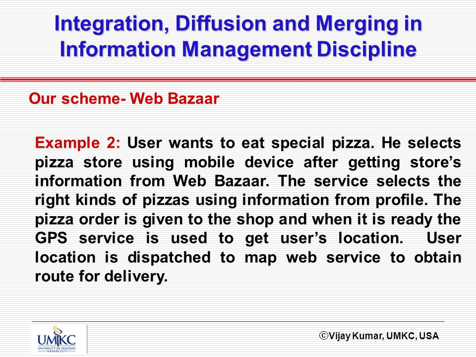 Vijay Kumar, UMKC, USA Integration, Diffusion and Merging in Information Management Discipline Our scheme- Web Bazaar Example 2: User wants to eat special pizza.