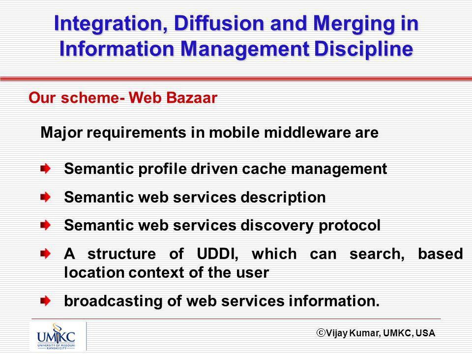 Vijay Kumar, UMKC, USA Integration, Diffusion and Merging in Information Management Discipline Our scheme- Web Bazaar Semantic profile driven cache ma