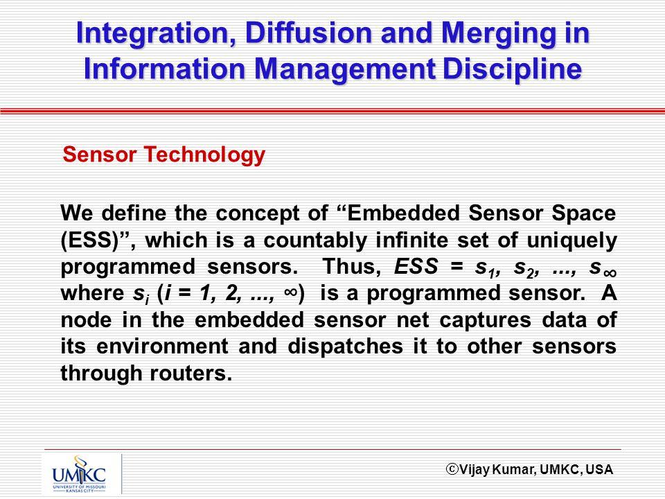 Vijay Kumar, UMKC, USA Integration, Diffusion and Merging in Information Management Discipline Sensor Technology We define the concept of Embedded Sen