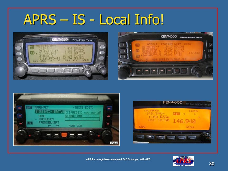 APRS is a registered trademark Bob Bruninga, WB4APR 30 APRS – IS - Local Info!