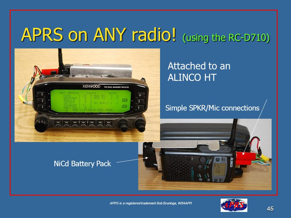 APRS is a registered trademark Bob Bruninga, WB4APR 45 APRS on ANY radio! (using the RC-D710) Attached to an ALINCO HT Simple SPKR/Mic connections NiC