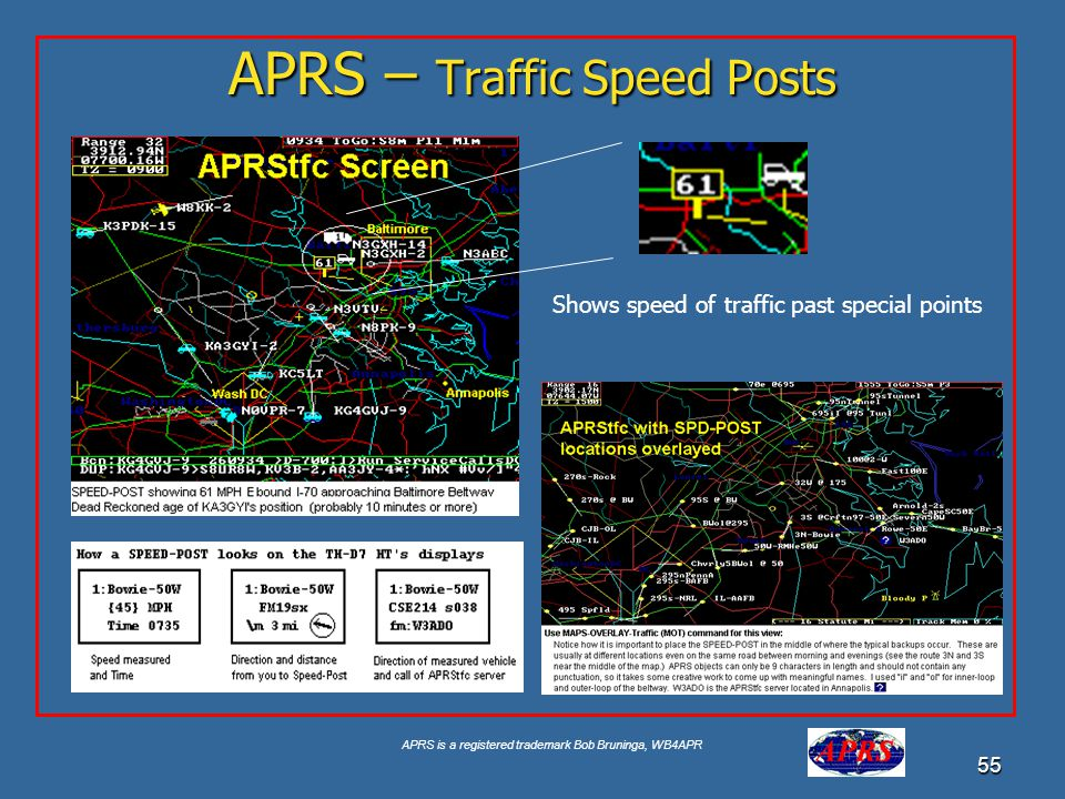 APRS is a registered trademark Bob Bruninga, WB4APR 55 APRS – Traffic Speed Posts Shows speed of traffic past special points