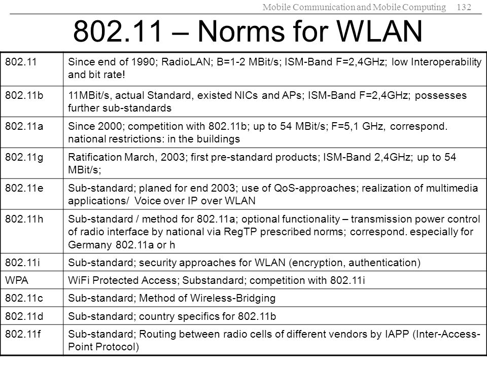 Mobile Communication and Mobile Computing132 802.11 – Norms for WLAN 802.11Since end of 1990; RadioLAN; B=1-2 MBit/s; ISM-Band F=2,4GHz; low Interoper
