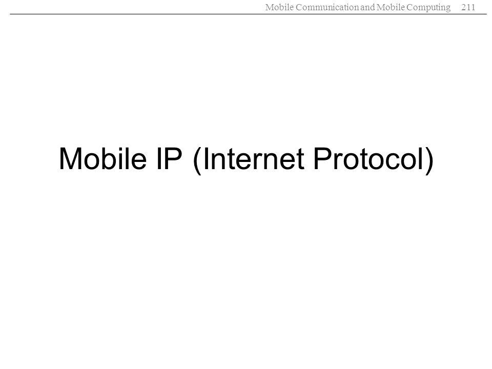 Mobile Communication and Mobile Computing211 Mobile IP (Internet Protocol)