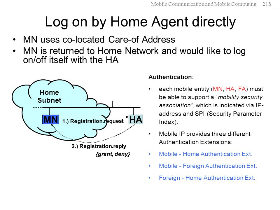 Mobile Communication and Mobile Computing218 Log on by Home Agent directly HA Home Subnet 1.) Registration.request 2.) Registration.reply {grant, deny