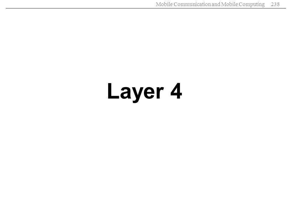 Mobile Communication and Mobile Computing238 Layer 4