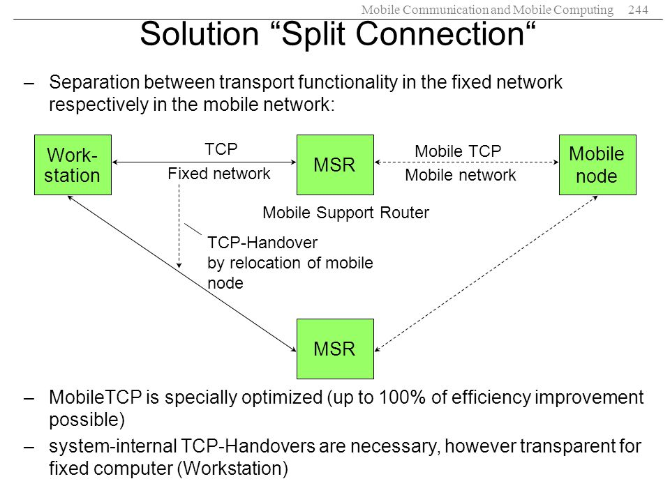 Mobile Communication and Mobile Computing244 –Separation between transport functionality in the fixed network respectively in the mobile network: –Mob