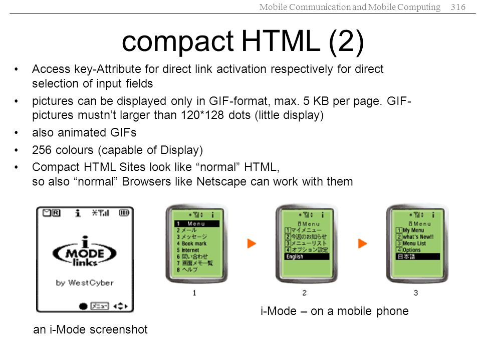 Mobile Communication and Mobile Computing316 compact HTML (2) Access key-Attribute for direct link activation respectively for direct selection of inp