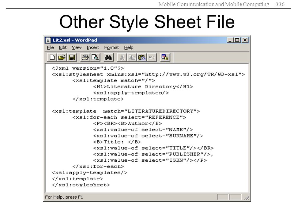 Mobile Communication and Mobile Computing336 Other Style Sheet File