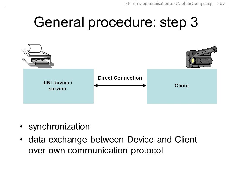 Mobile Communication and Mobile Computing369 JINI device / service Client Direct Connection General procedure: step 3 synchronization data exchange be