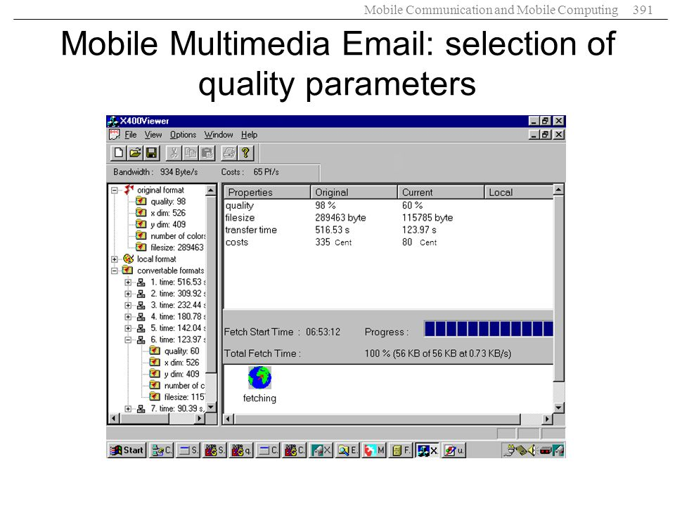 Mobile Communication and Mobile Computing391 Mobile Multimedia Email: selection of quality parameters Cent