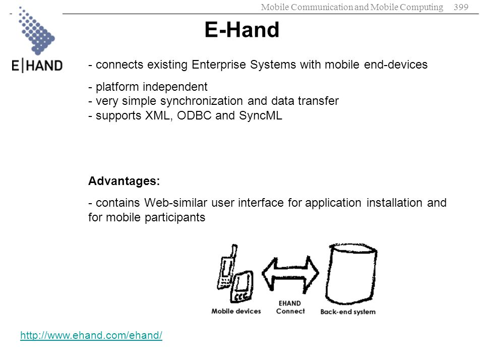 Mobile Communication and Mobile Computing399 E-Hand http://www.ehand.com/ehand/ - connects existing Enterprise Systems with mobile end-devices - platf