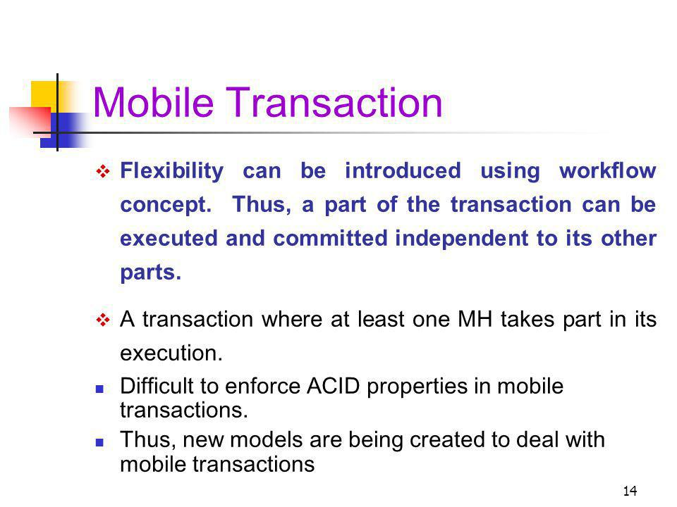 14 Mobile Transaction Flexibility can be introduced using workflow concept.