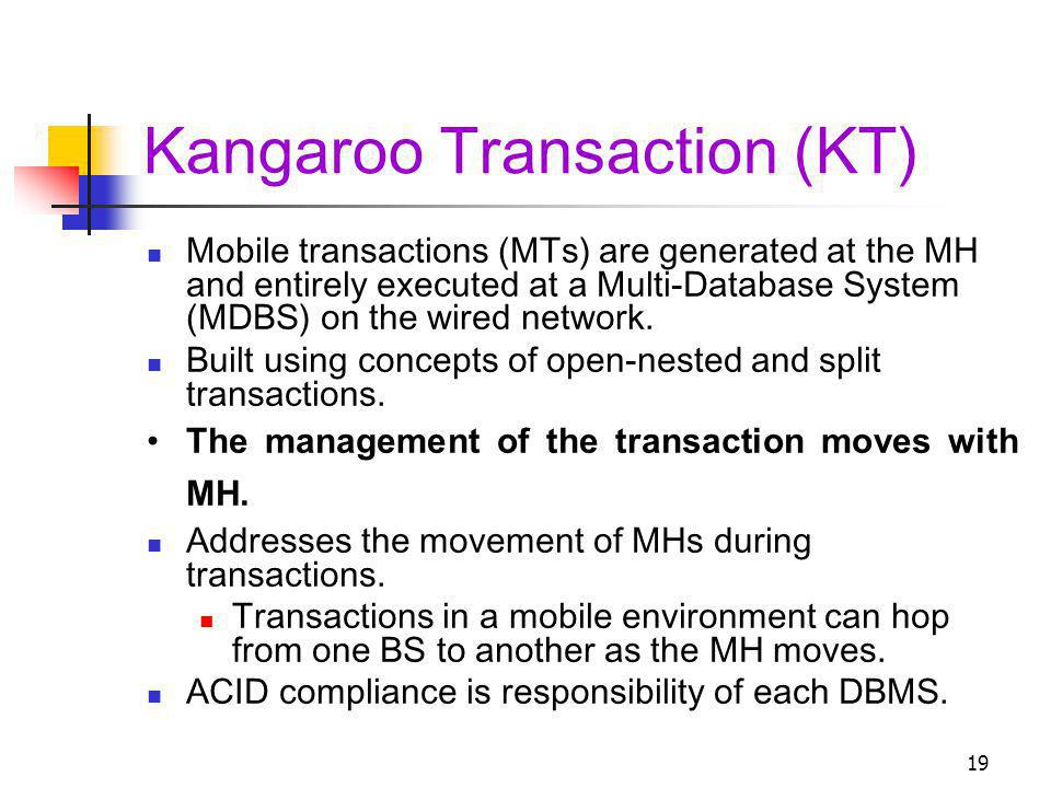 19 Kangaroo Transaction (KT) Mobile transactions (MTs) are generated at the MH and entirely executed at a Multi-Database System (MDBS) on the wired network.