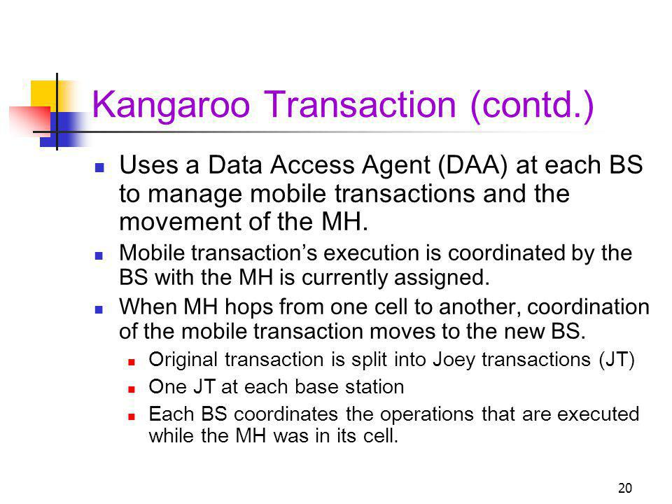 20 Kangaroo Transaction (contd.) Uses a Data Access Agent (DAA) at each BS to manage mobile transactions and the movement of the MH. Mobile transactio