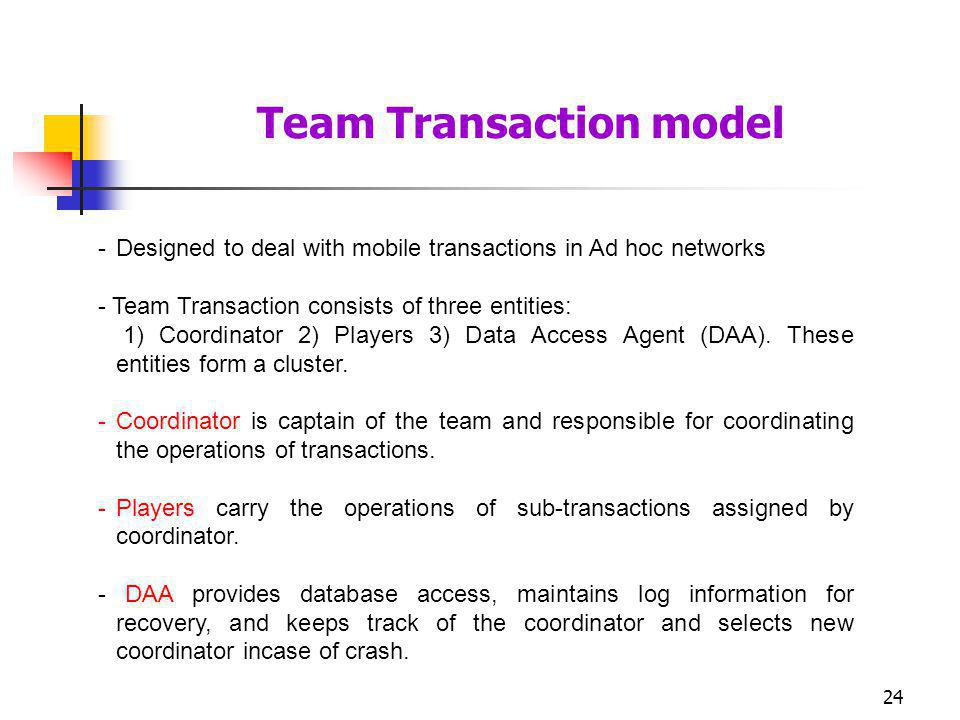 24 -Designed to deal with mobile transactions in Ad hoc networks - Team Transaction consists of three entities: 1) Coordinator 2) Players 3) Data Acce