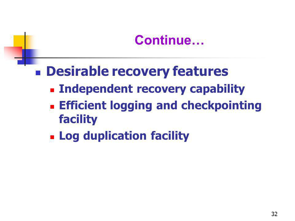 32 Continue… Desirable recovery features Independent recovery capability Efficient logging and checkpointing facility Log duplication facility
