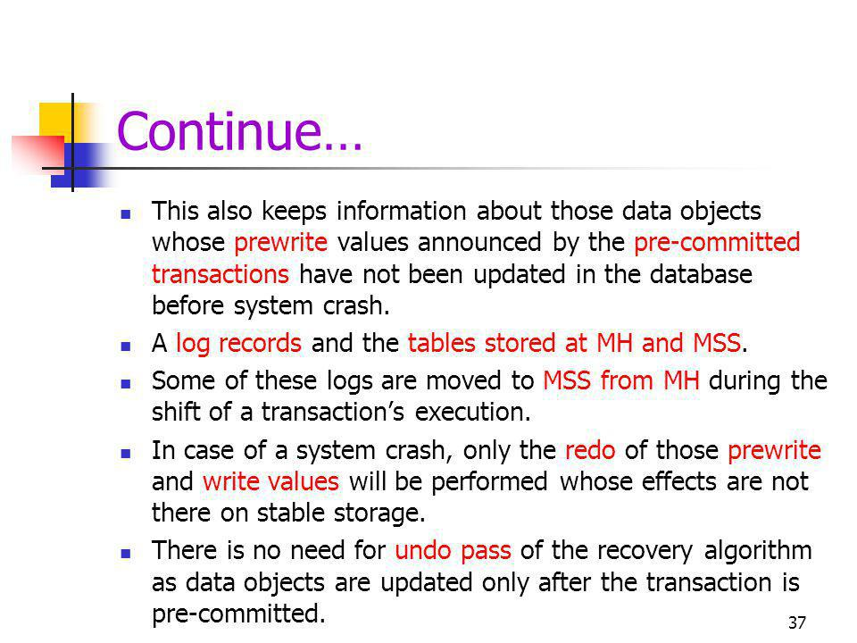 Continue… This also keeps information about those data objects whose prewrite values announced by the pre-committed transactions have not been updated in the database before system crash.