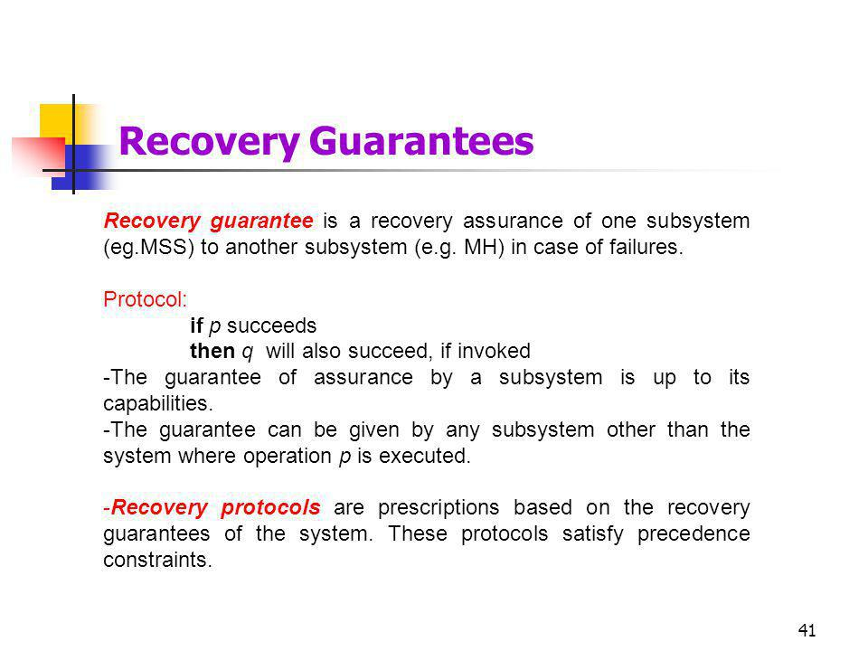 41 Recovery guarantee is a recovery assurance of one subsystem (eg.MSS) to another subsystem (e.g.