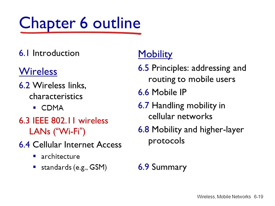 Wireless, Mobile Networks6-19 Chapter 6 outline 6.1 Introduction Wireless 6.2 Wireless links, characteristics CDMA 6.3 IEEE 802.11 wireless LANs (Wi-F