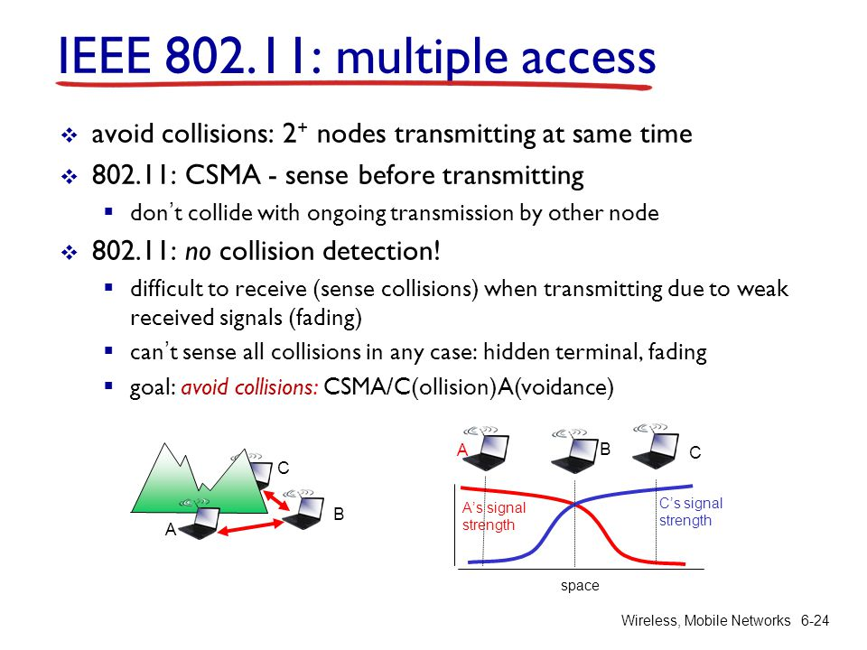 Wireless, Mobile Networks6-24 IEEE 802.11: multiple access avoid collisions: 2 + nodes transmitting at same time 802.11: CSMA - sense before transmitt