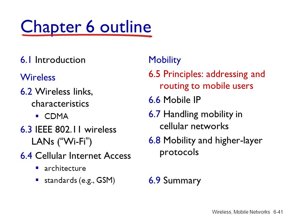 Wireless, Mobile Networks6-41 Chapter 6 outline 6.1 Introduction Wireless 6.2 Wireless links, characteristics CDMA 6.3 IEEE 802.11 wireless LANs (Wi-F
