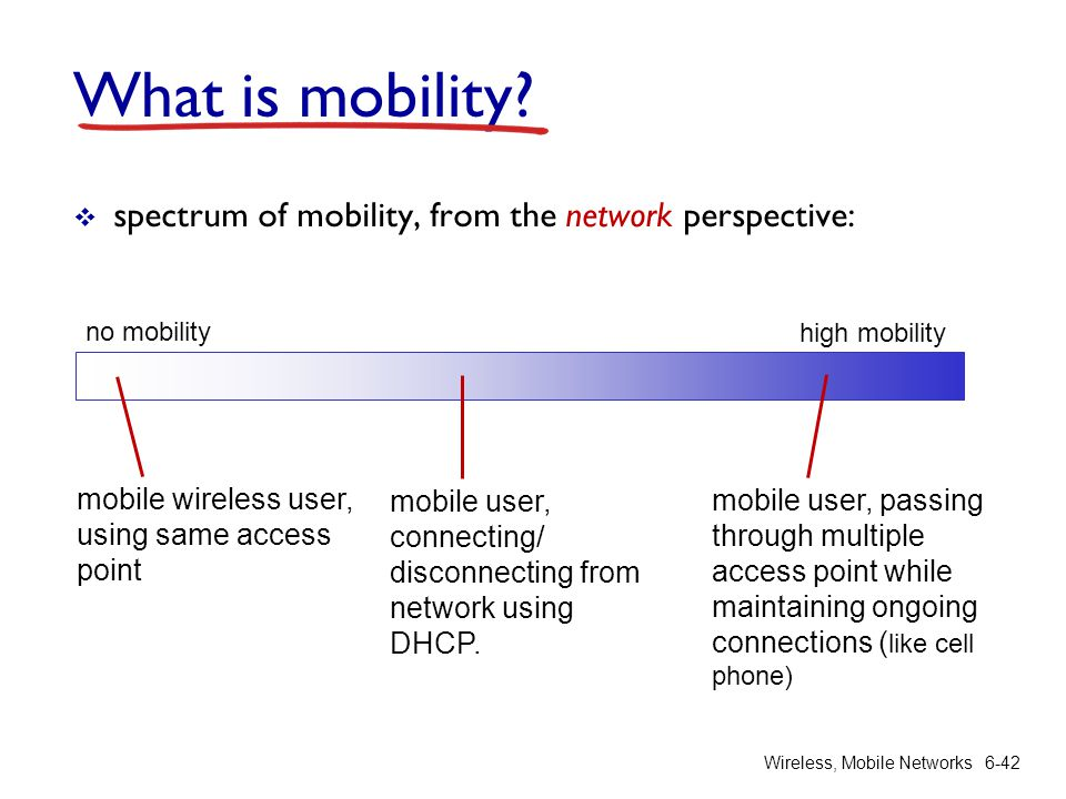 Wireless, Mobile Networks6-42 What is mobility? spectrum of mobility, from the network perspective: no mobility high mobility mobile wireless user, us