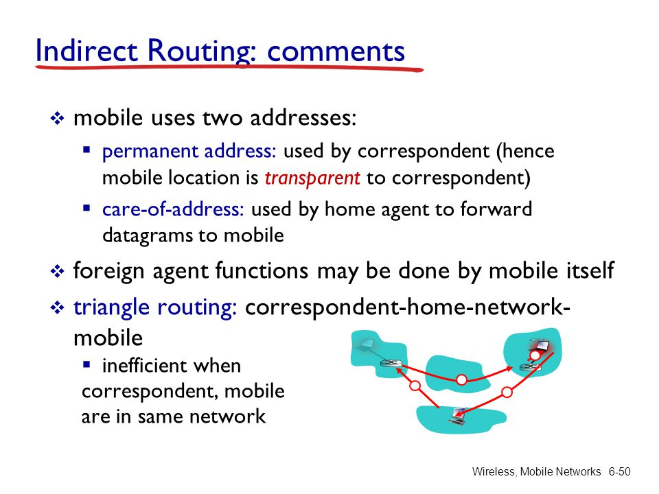 Wireless, Mobile Networks6-50 Indirect Routing: comments mobile uses two addresses: permanent address: used by correspondent (hence mobile location is