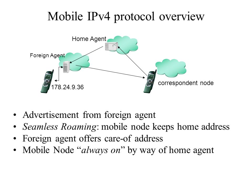 Mobile IPv4 protocol overview Advertisement from foreign agent Seamless Roaming: mobile node keeps home address Foreign agent offers care-of address Mobile Node always on by way of home agent Foreign Agent 178.24.9.36 Home Agent correspondent node
