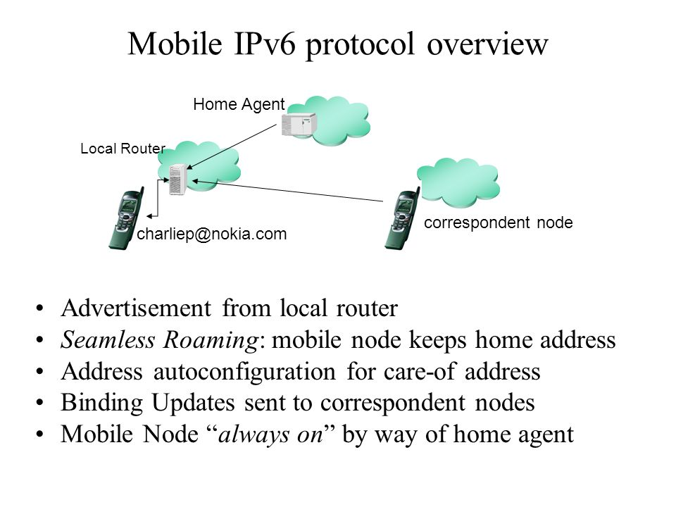 Mobile IPv6 protocol overview Advertisement from local router Seamless Roaming: mobile node keeps home address Address autoconfiguration for care-of address Binding Updates sent to correspondent nodes Mobile Node always on by way of home agent Local Router charliep@nokia.com Home Agent correspondent node