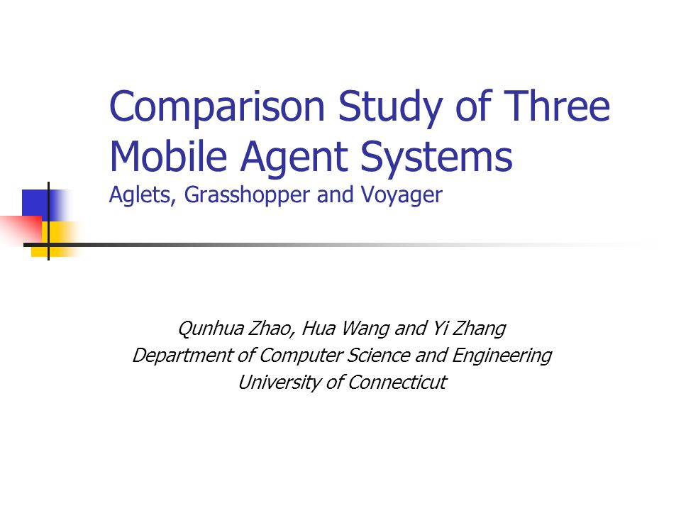 Description of Three Agent Systems.