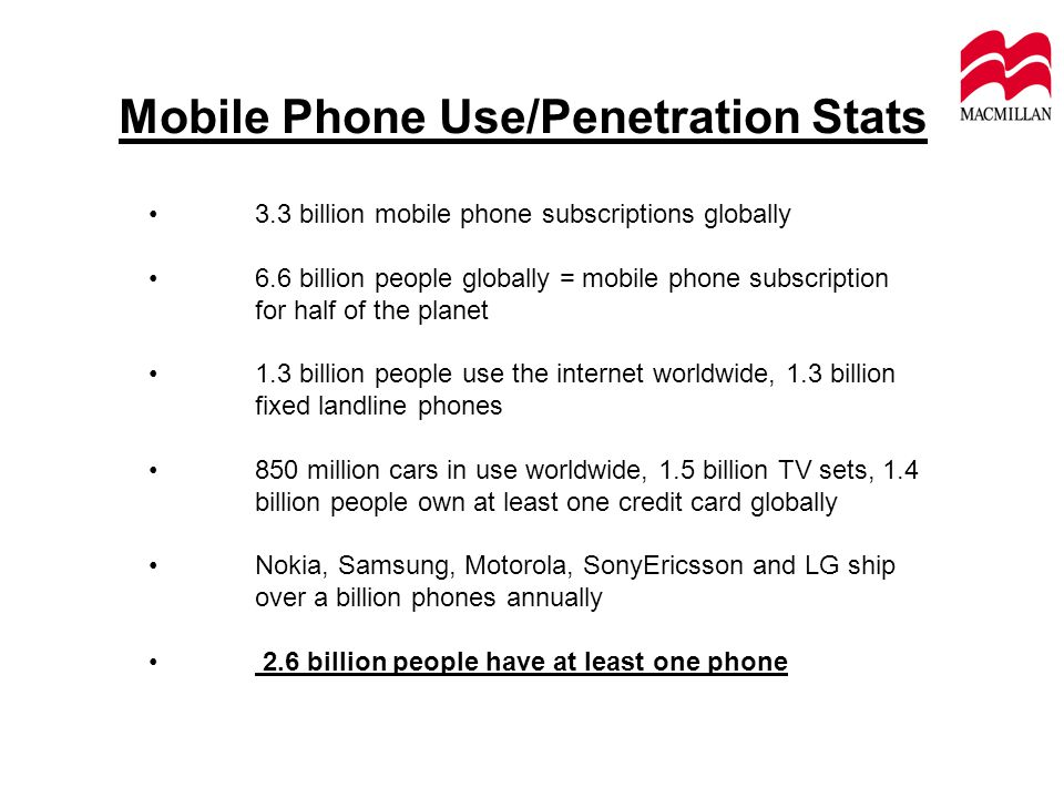 Mobile Phone Use/Penetration Stats 3.3 billion mobile phone subscriptions globally 6.6 billion people globally = mobile phone subscription for half of the planet 1.3 billion people use the internet worldwide, 1.3 billion fixed landline phones 850 million cars in use worldwide, 1.5 billion TV sets, 1.4 billion people own at least one credit card globally Nokia, Samsung, Motorola, SonyEricsson and LG ship over a billion phones annually 2.6 billion people have at least one phone