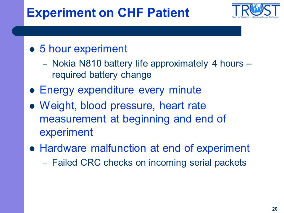 20 Experiment on CHF Patient 5 hour experiment – Nokia N810 battery life approximately 4 hours – required battery change Energy expenditure every minu