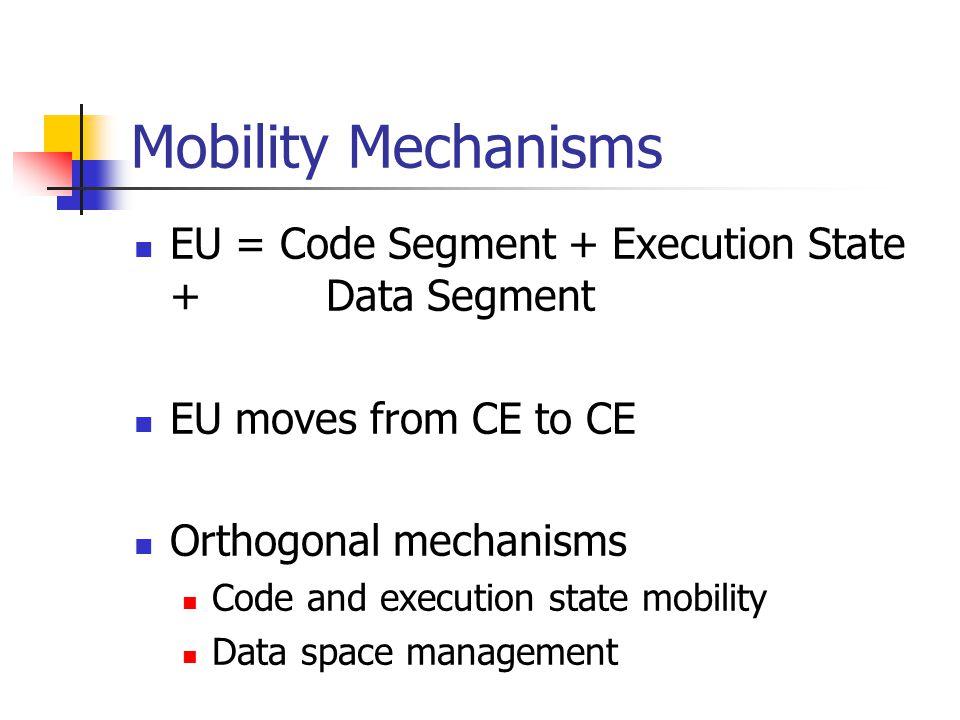 Mobility Mechanisms EU = Code Segment + Execution State + Data Segment EU moves from CE to CE Orthogonal mechanisms Code and execution state mobility Data space management