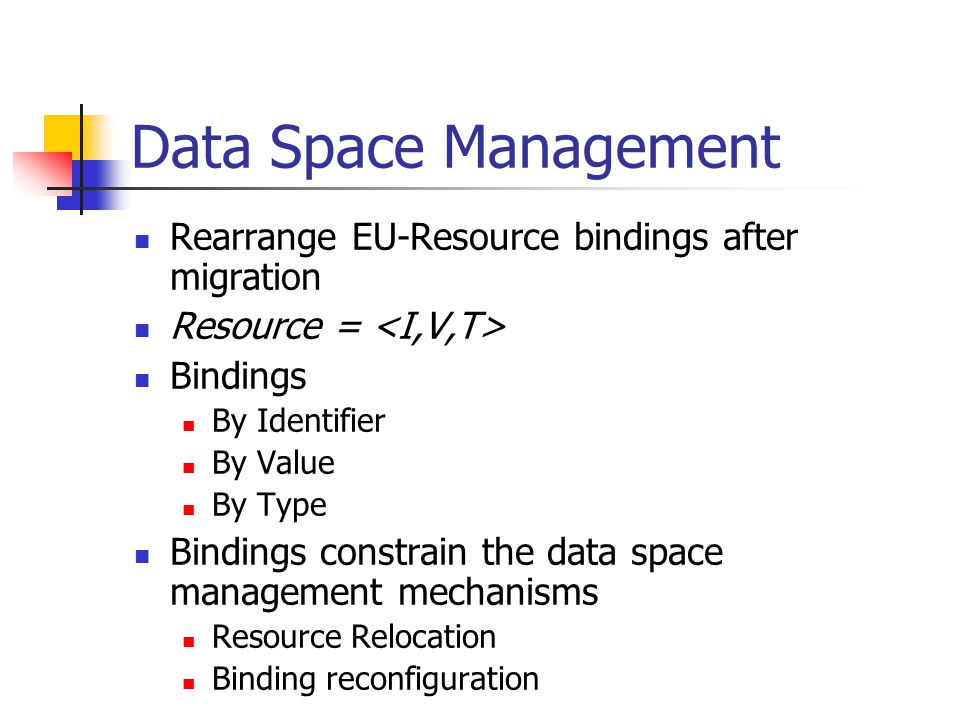 Data Space Management Rearrange EU-Resource bindings after migration Resource = Bindings By Identifier By Value By Type Bindings constrain the data sp