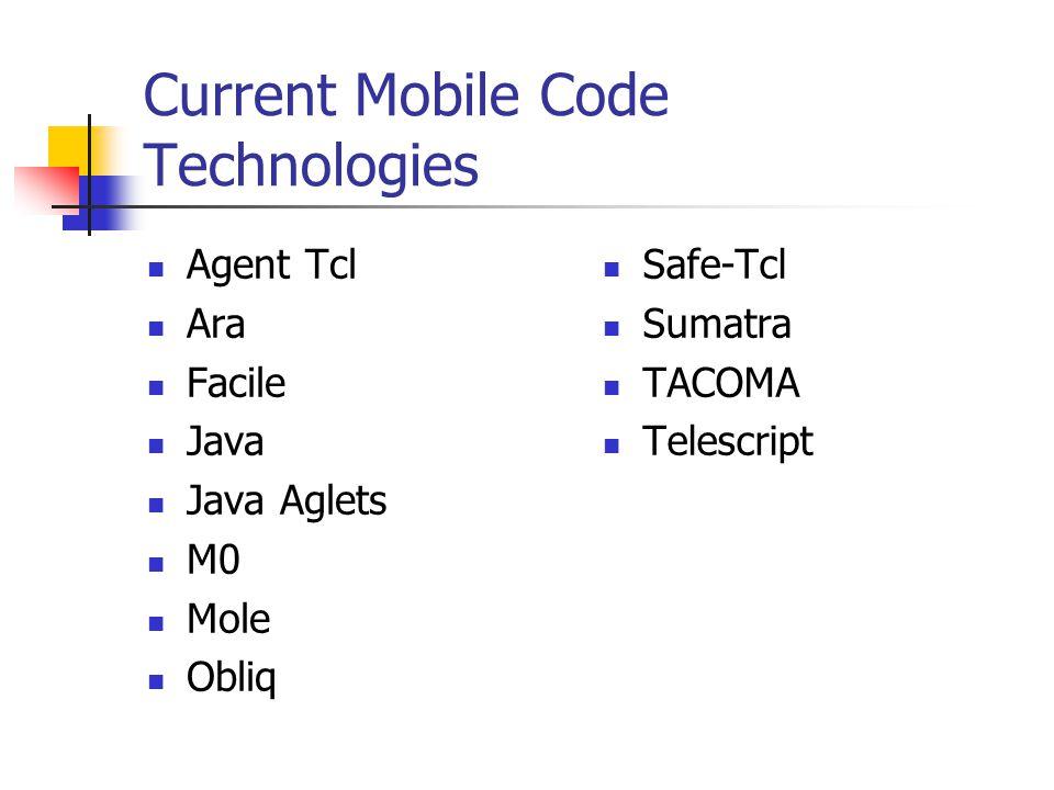 Current Mobile Code Technologies Agent Tcl Ara Facile Java Java Aglets M0 Mole Obliq Safe-Tcl Sumatra TACOMA Telescript