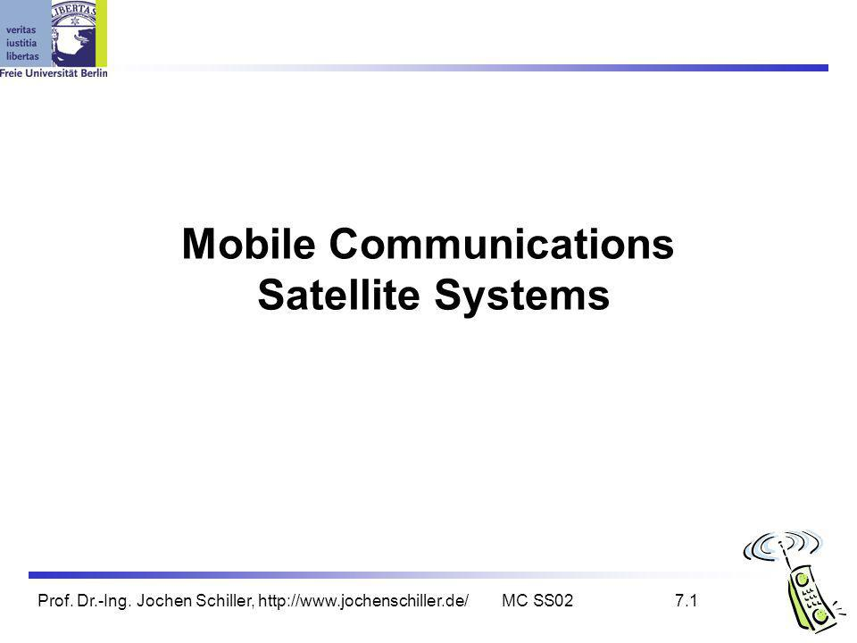 Prof. Dr.-Ing. Jochen Schiller, http://www.jochenschiller.de/MC SS027.1 Mobile Communications Satellite Systems